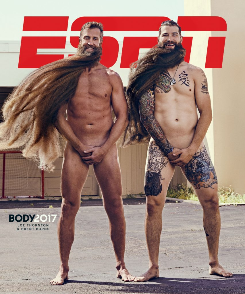 Joe Thurton and Brett Burns and their elongated playoff beards are cheeky grins for an ESPN cover