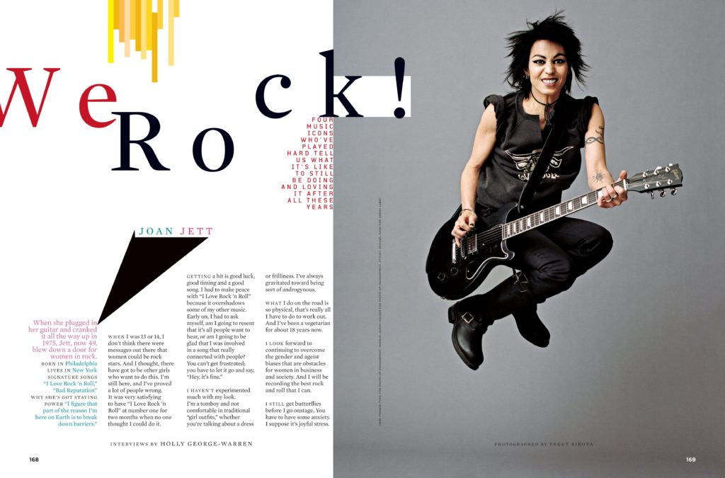 More magazine spread with left side text and right side image of Joan Jett jumping with her guitar